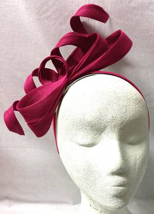 Fuchsia multi looped  and twisted fascinator - one only