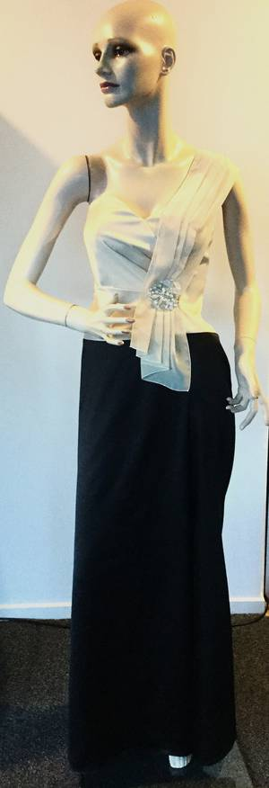 Black and oyster sweetheart neckline gown - ON SALE - size 10/12 only