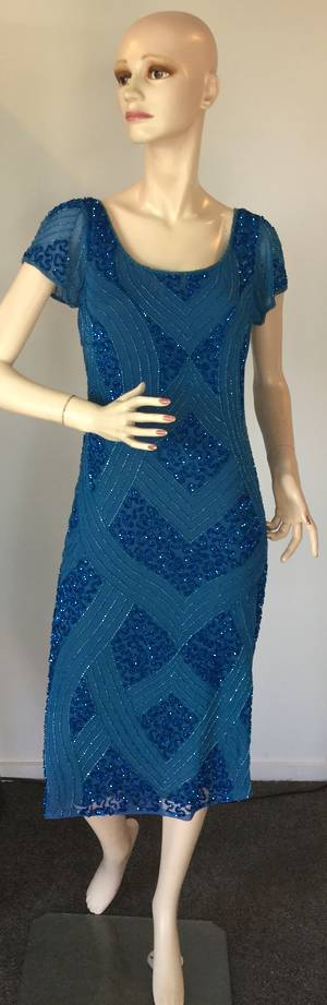 Blue beaded and sequin dress - size 10 only