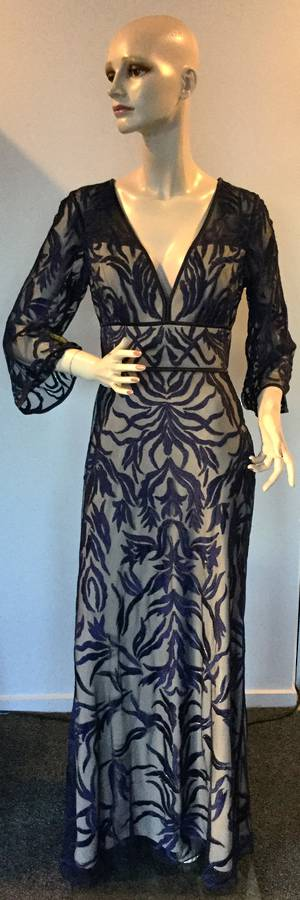 Navy and sand 3/4 sleeve gown - size 10 only