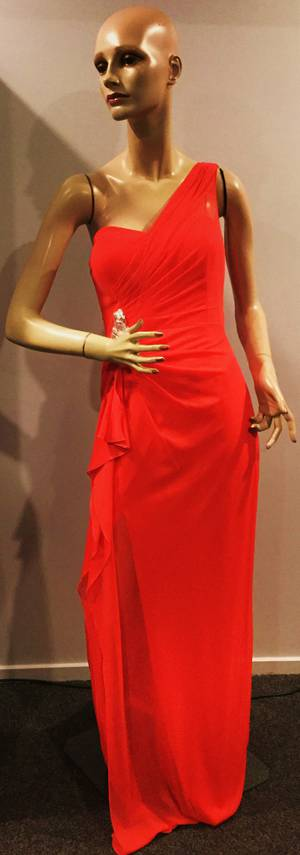 One shoulder rouched split gown with a sweetheart neckline - size 10 only
