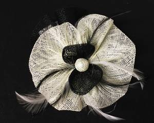 Black and ivory (cream) fascinator - one only