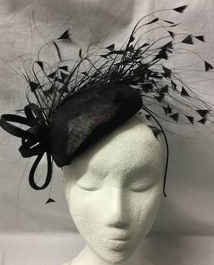 Black fascinator with loops and loads of feathers