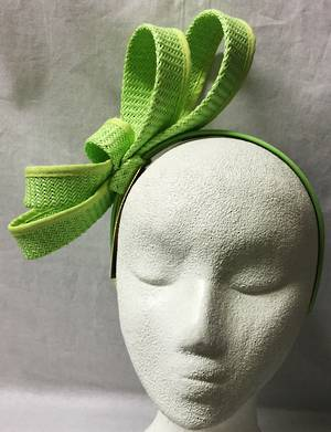 Lime looped fascinator on headband - one only