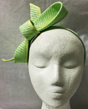 Lime single looped fascinator on headband