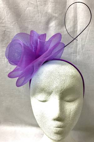 Purple double rosettes on headband