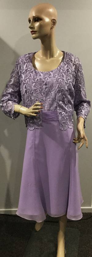 Lilac (soft lavender) lace dress and jacket - size 18/20