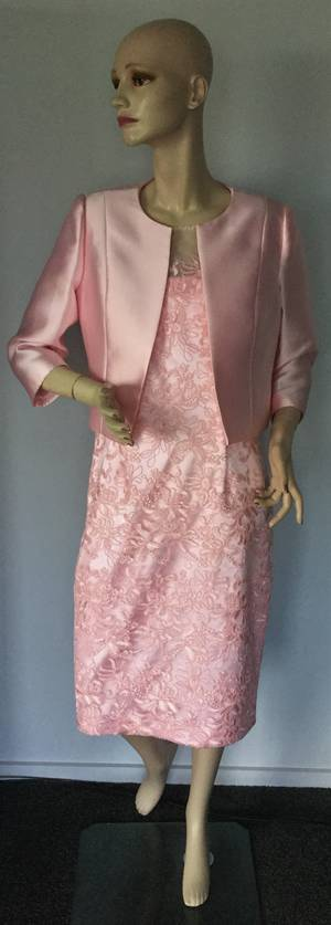 Soft rose lace dress and bolero - size 14/16 only