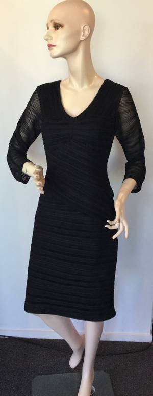 Black rouched cocktail dress - size 10 only