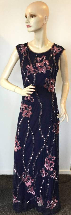 Full length navy beaded gown with pink sequins - size 10 only