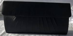 Black pleated satin clutch - one only
