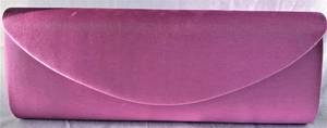 Mauve satin clutch with chain - one only