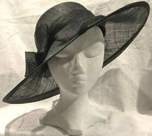 Black wide brim asymmetrical picture hat - one only