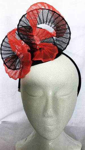 Coral and black fascinator - one only