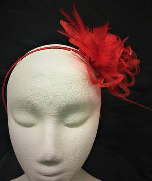 Cherry red circular fascinator - one only