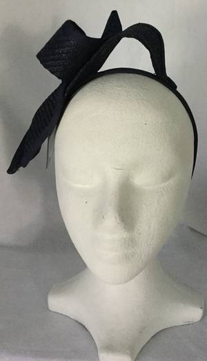 Navy twisted bow fascinator