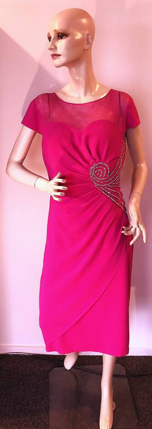 Fuchsia rouched dress - size 14 only