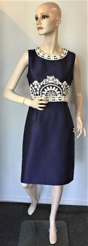 Navy and cream dress - size 12 only