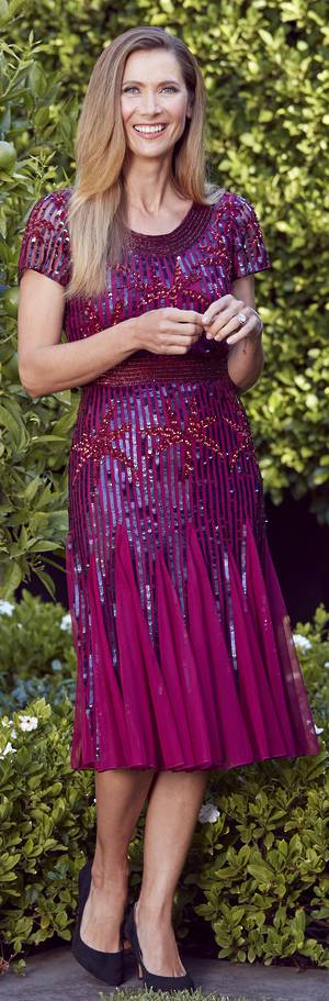 Wine sequinned dress - one only size 12