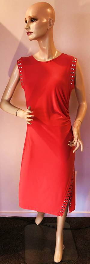 Coral ruched dress - size 10 only