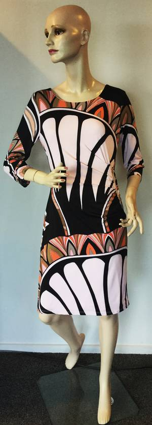 Geometric design rouched dress - size 10 and 18 only
