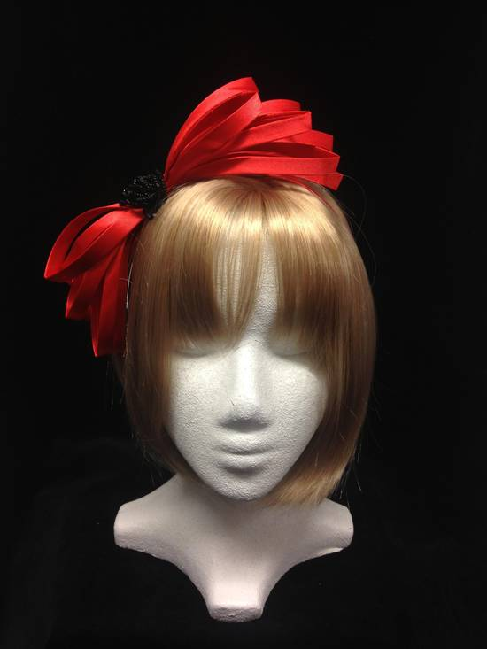 Cherry red satin fascinator with black jet rose