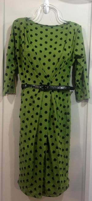 Green and black polka dot long sleeved dress - ON SALE
