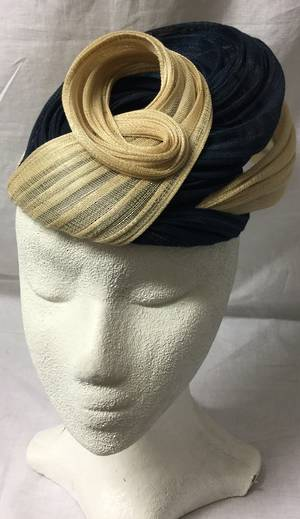 Navy and nude cocktail hat