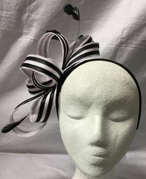 White and black two tone bow fascinator