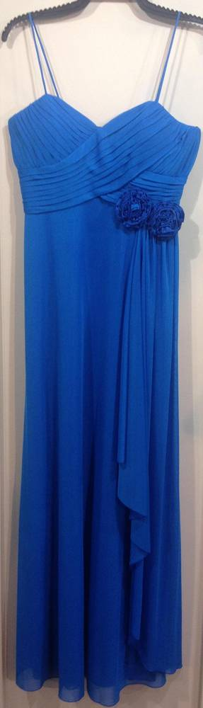 Blue gown with two rosettes and shoestring straps - ON SALE